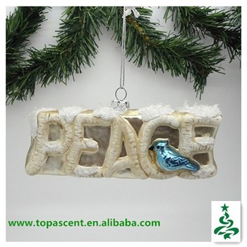 new outdoor christmas rree ornament in hand blown glass blue bird on peacequot - Peace Outdoor Christmas Decorations