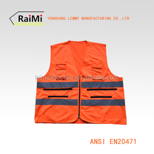 EN20471 CLASS 2 High Visibility 100 Polyester Work Orange Reflective Cheap safety Vest With Pockets