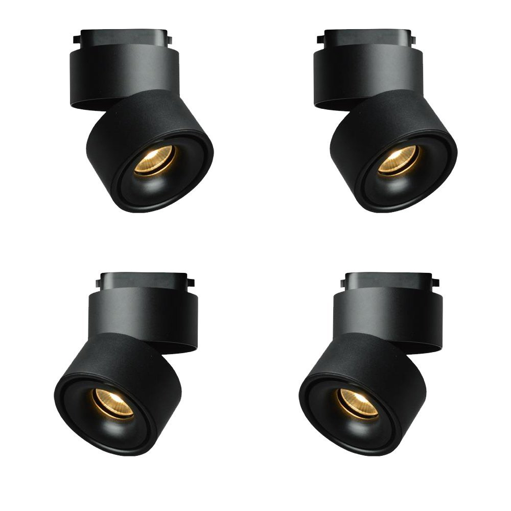 Broda Lighting 4 PACK LED track light 10Watts 2 wire 3000K Black Spot Tracking light for Pendant Kitchen Clothes Shop Shoes Store track light fixture Equal 300W Halogen Lamps Spot Lighting 24 degree