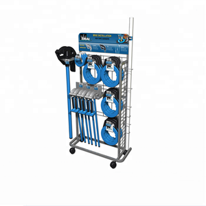 supermarket retail store hook display with wheels garden tool display stand metal instruction hardware display rack