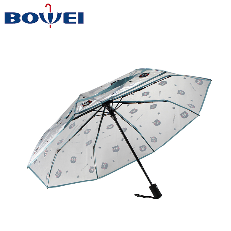2020 High quality promotional custom logo POE clear folding transparent flower foldable umbrella for lady