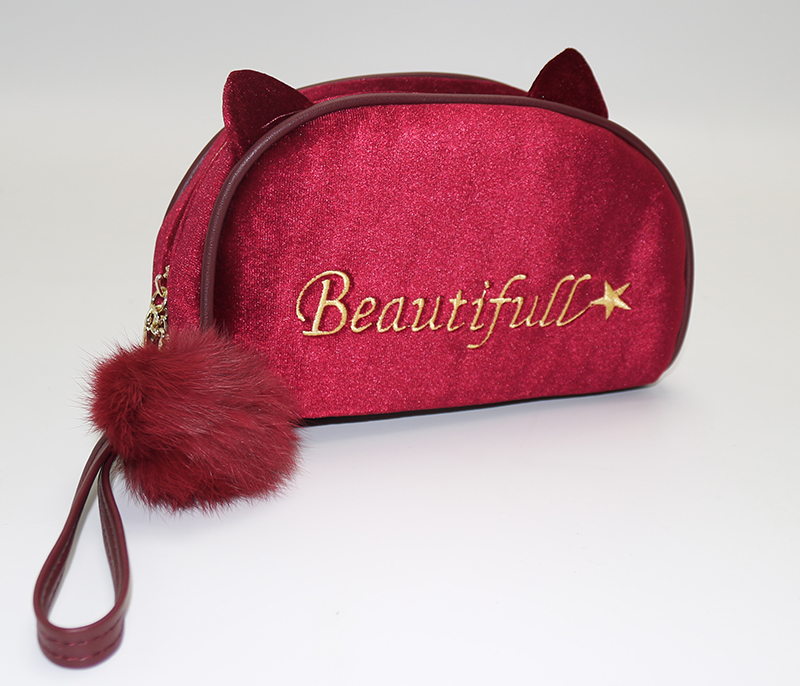 ARTGIMEN Portable Cute Kawaii Fashion Kitty Cat Velvet Cosmetic Bag Makeup Brush Case Travel Clutch Handbag Purse with Furry Pom