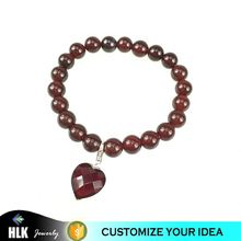 DIY stone jewelry high qualilty Garnet natural stone beads bracelets with heart charm