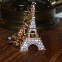 3D crystal Crown Shape keychain/Paris Eiffel Tower keyring/Can add customer's logo