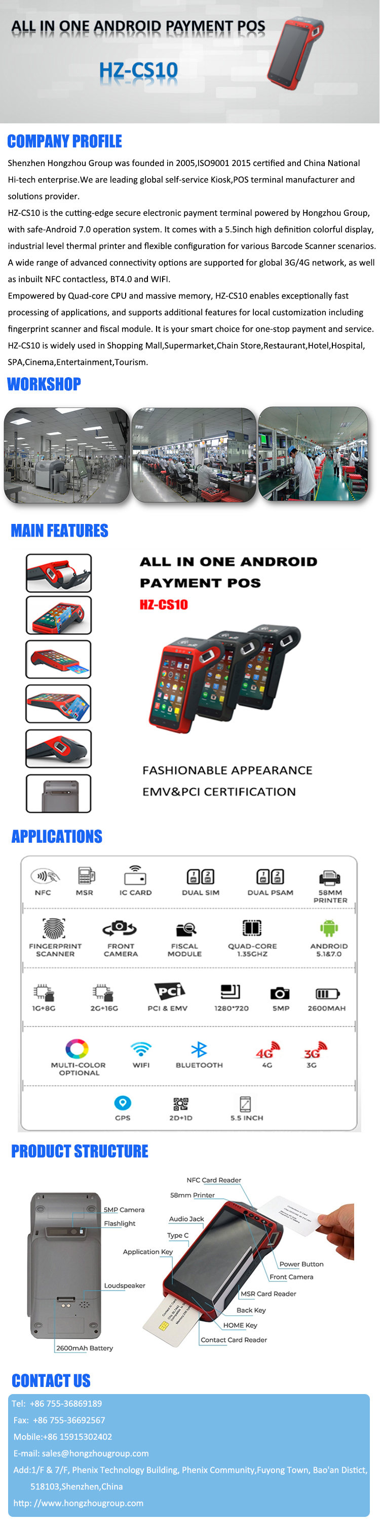 Android 7.0 Handheld Smart Payment POS With Optional Modules