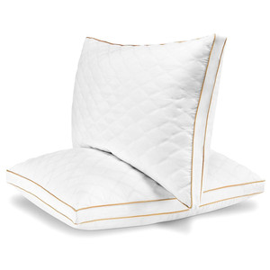 Hotel Quality Plush Gel Fiber Filled Pillow with a quilted cover and sateen piping