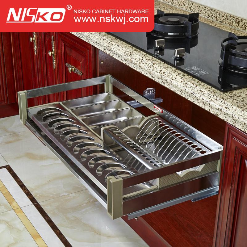 Lato di Montaggio In Alluminio Armadio Da Cucina Soft Close Estrarre il Cassetto Cestino