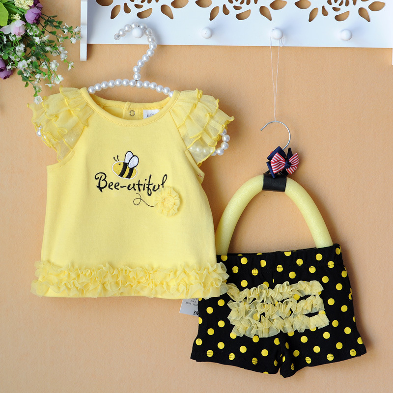 2015 Summer newborn baby clothing sets lace bees floral baby girl clothes 2pcs set kids T