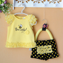 2015 Summer newborn baby clothing sets lace bees floral baby girl clothes 2pcs/set kids T-shirt+shorts yellow