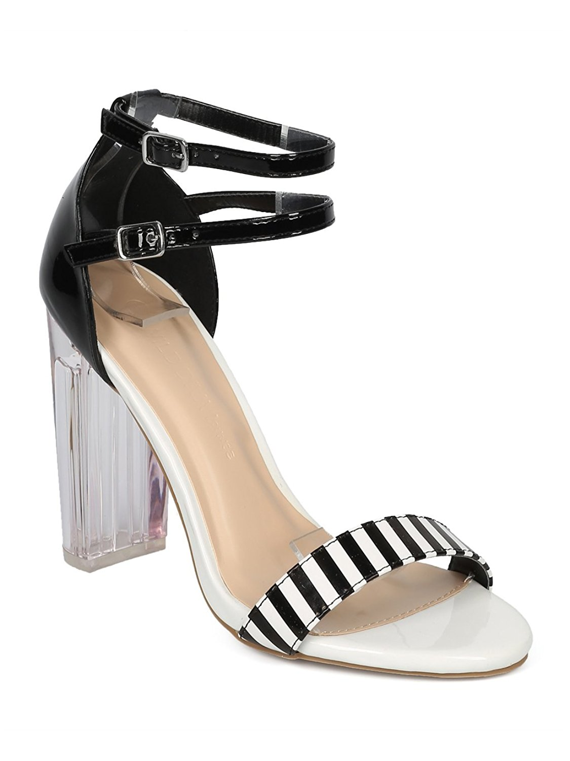 2b1cc4cbc35 Get Quotations · Alrisco Women Lucite Block Heel Sandal - Striped Perspex  Heel Sandal - Double Ankle Strap Chunky