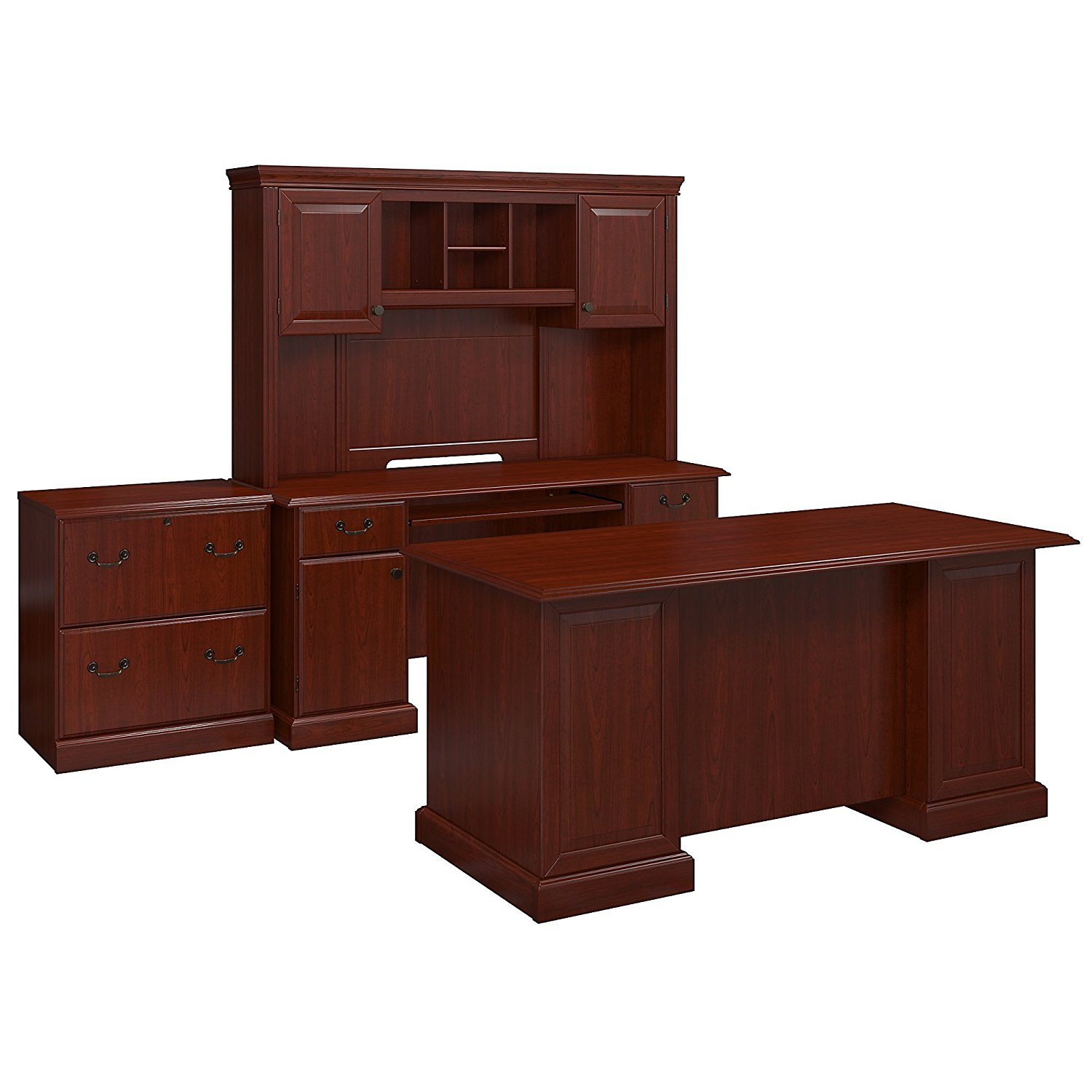 kathy ireland Office by Bush Business Furniture Bennington Manager's Desk, Credenza with Hutch and Lateral File in Harvest Cherry