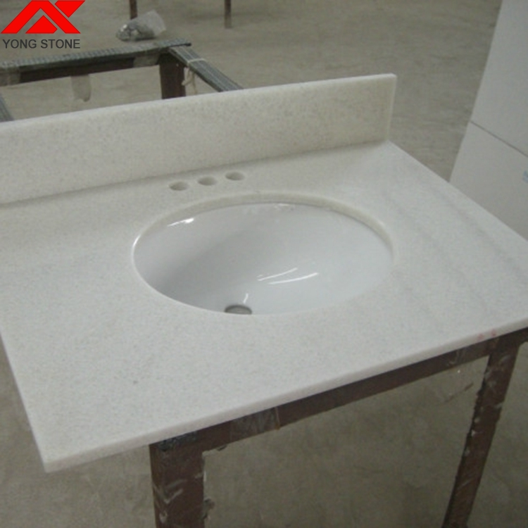 Crystal White Marble One Piece Bathroom Sink And Countertop On Sale