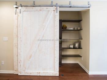 full z style sliding barn door slab with bypass sliding door hardware