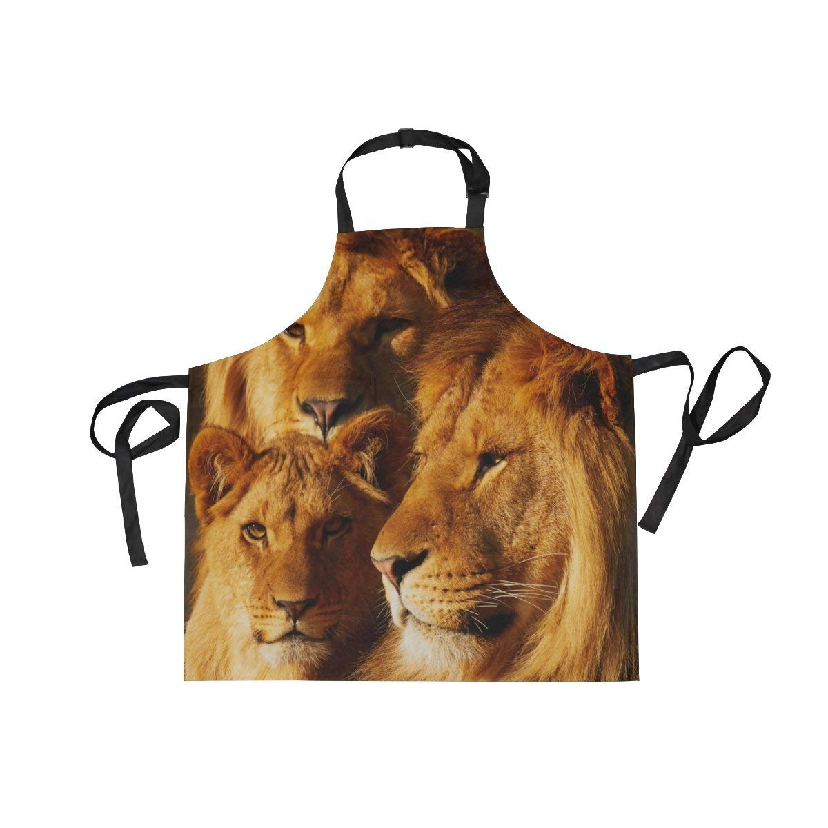 Unisex Apron Majestic Tree Lion Adjustable Apron with Pockets for Men Women Kitchen Personal Decor Cooking Baking Kitchen Gardening Waist Apron Adult Apron,Twill,Multicolor