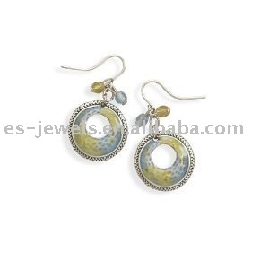 Enamel and Czech Glass charm Earrings