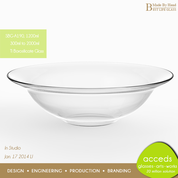 1200ml Large 3.3 Borosilicate Glass Mixing Bowl
