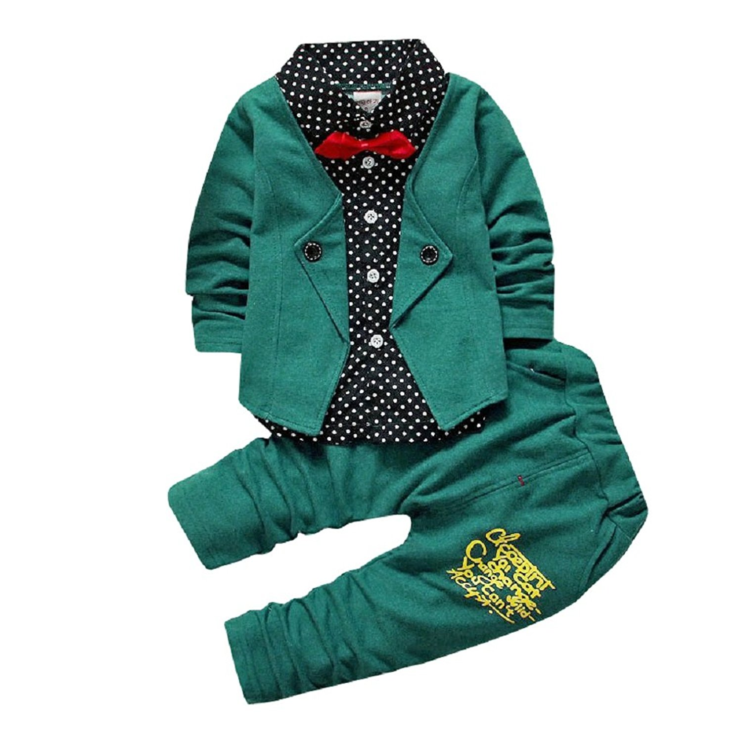 a2d019ab63a Get Quotations · thAmi Kids 2-Piece Suits Gentry Formal Party Tracksuits  Outfits With Bowtie Infant Toddler Boys