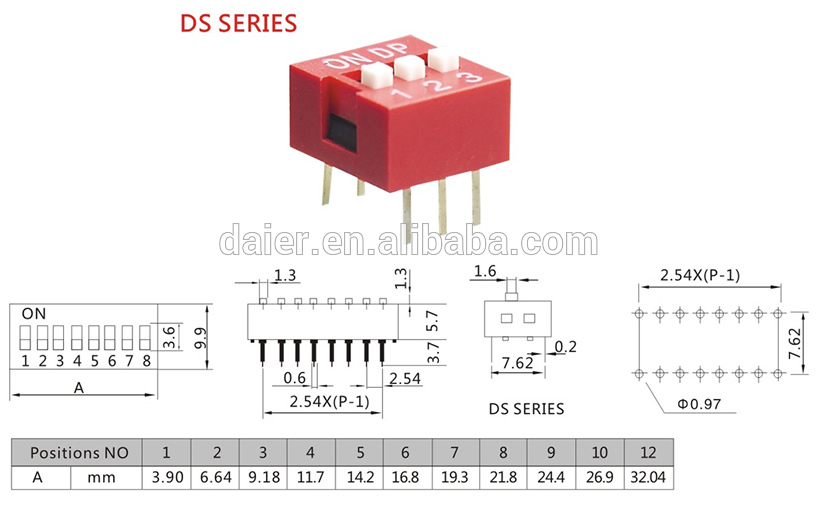 spdt dip switch 3 pins named ds 04 with dip switch schematic view rh daier en alibaba com dip switch circuit diagram dip switch settings diagram