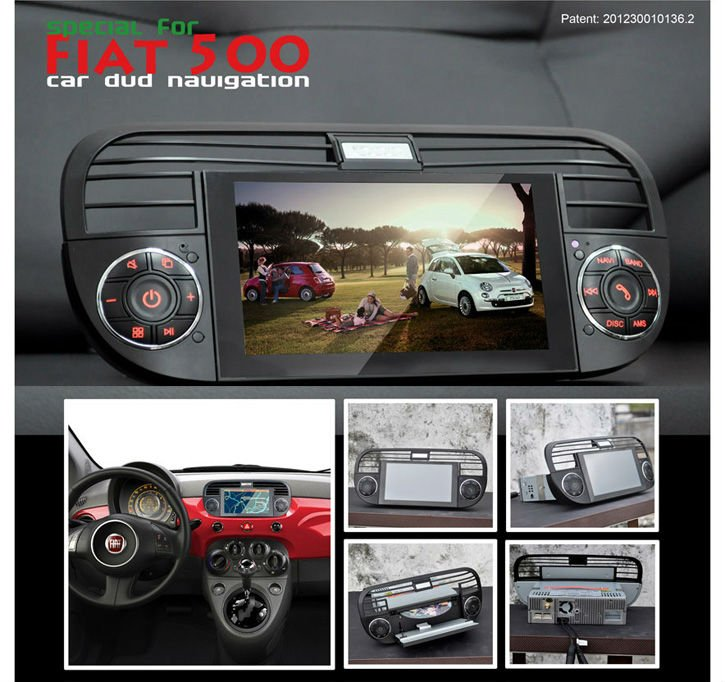 car dvd for fiat 500 with gps radio bluetooth bt tv 4gb map audio video stereo player touch. Black Bedroom Furniture Sets. Home Design Ideas