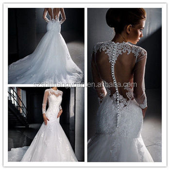 SJ2506 white sexy see-through modest high neck floor length tulle appliqued beaded long sleeve mermaid wedding dress