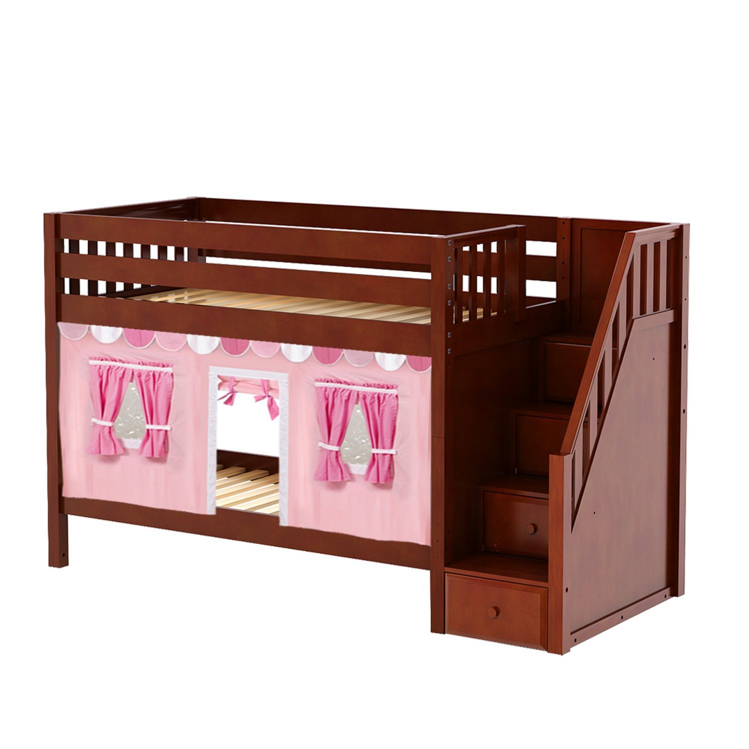 Maxtrix Solid Hardwood Twin/Twin Low Bunk Bed with Storage Staircase Entry and Low Bunk Curtains, Chestnut Finish, Pink, Soft Pink, and White Fabric