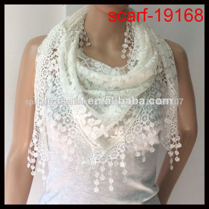 las mujeres elegantes colores blanco de encaje triángulo bufanda ...