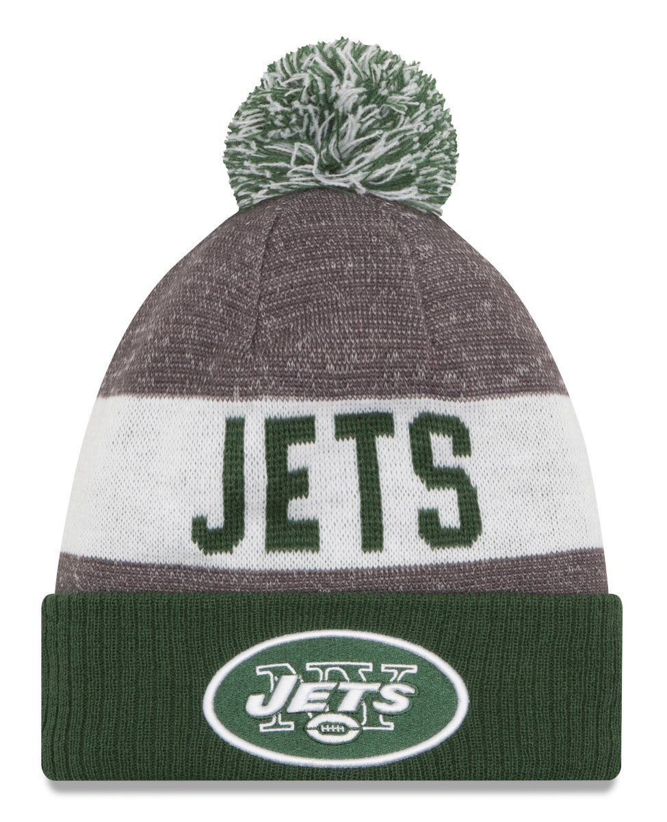 0b71fb3fe6359 Get Quotations · New Era Knit New York Jets Green On Field Sideline Sport  Knit Winter Stocking Beanie Pom
