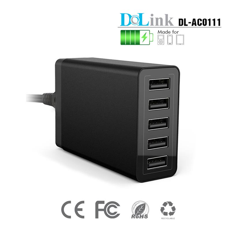 40W 5-Port High Speed Multi Port Portable Desktop USB Charger Power Adapter USB Charging Station