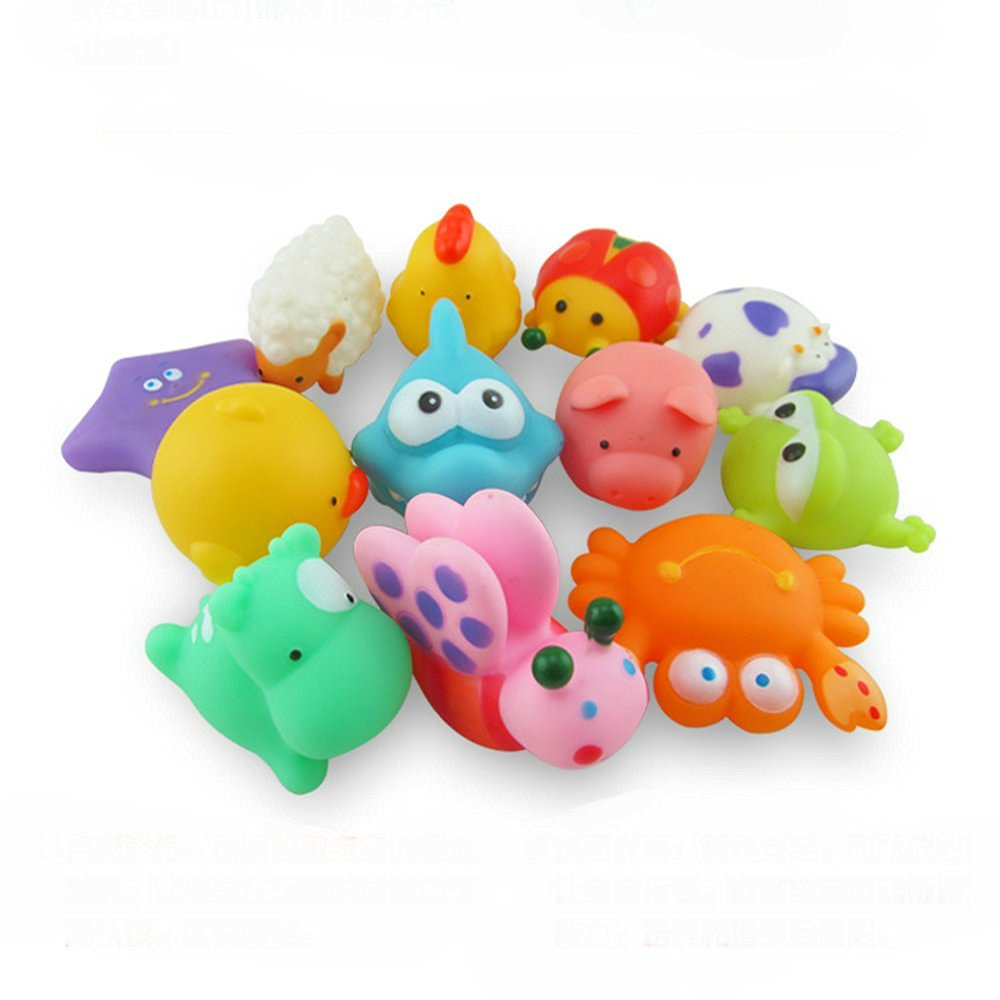 Buy 12Pcs Mixed Lovely Animals Baby Bath Toys Soft Rubber Duck Float ...