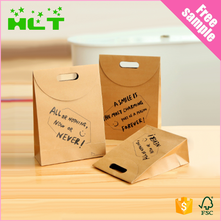 Luxury food grade brown shopping die cut paper bag with logo print