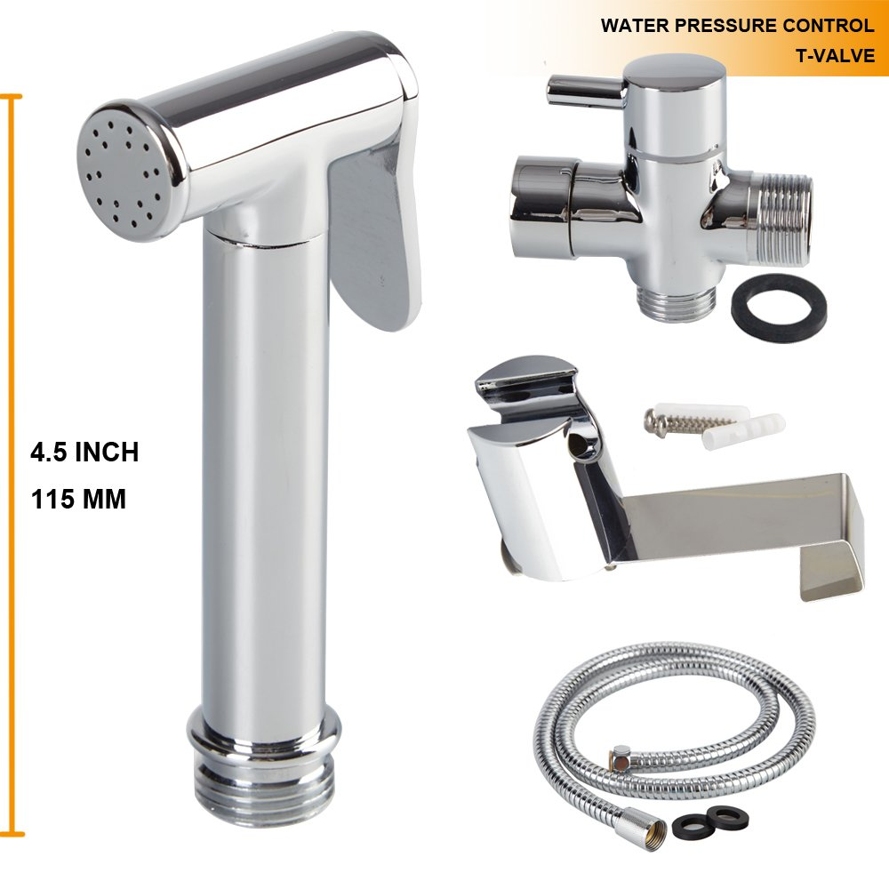 AWESON Quality Brass Cloth Diaper Sprayer, Toilet Sprayer Kit WITH BRASS T-VALVE, Handheld Bidet Sprayer, Hand Held Bidet Shattaf, 1.2m /48 Inch Stainless Steel Hose, Holder and SUS304 Hook (BRASS A)