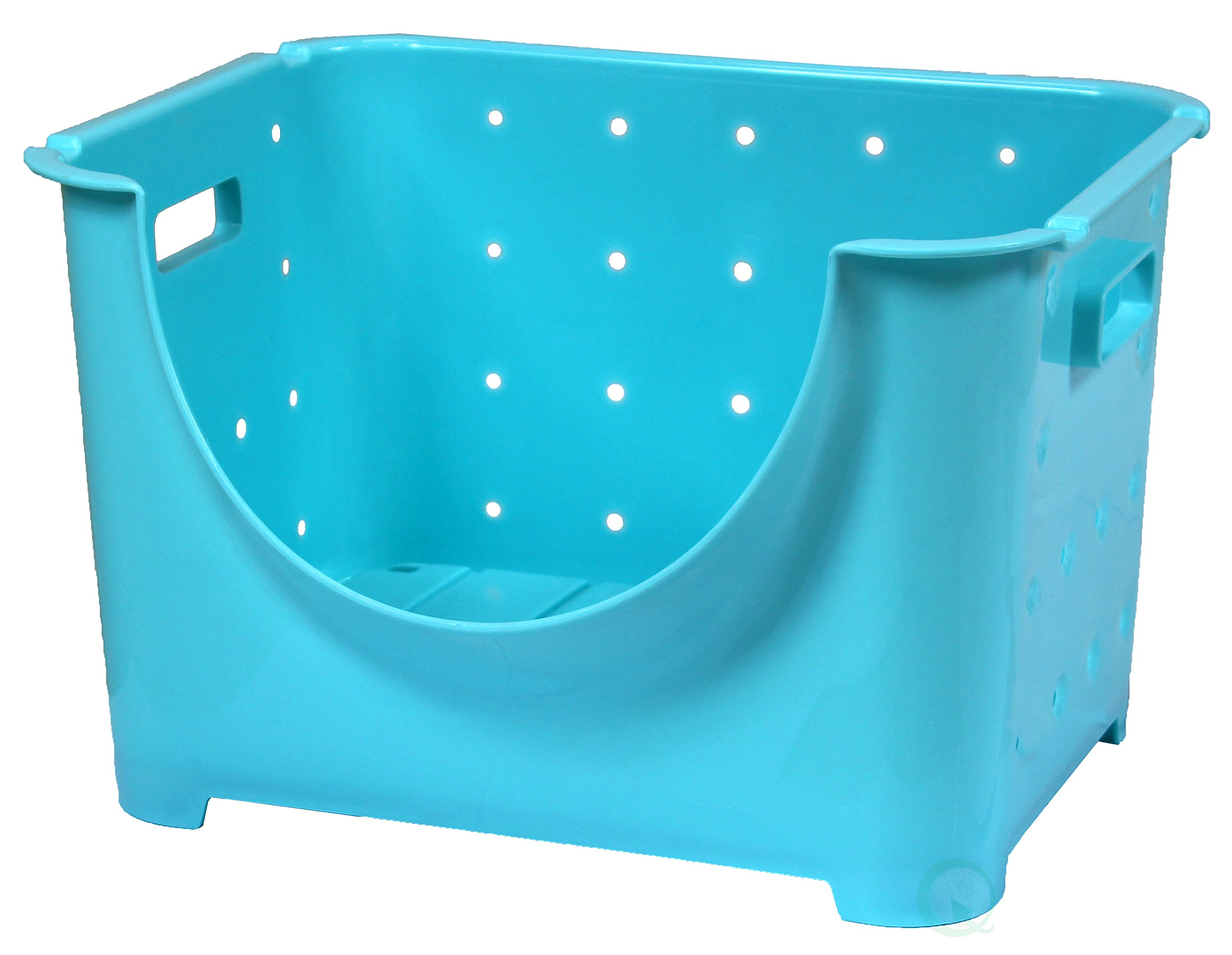 Basicwise Stackable Plastic Storage Container Stacking Bins, Blue