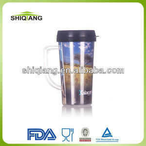 16oz DIY plastic high grade promotional gift mugs travel coffee mugs with changeable insert paper and handle