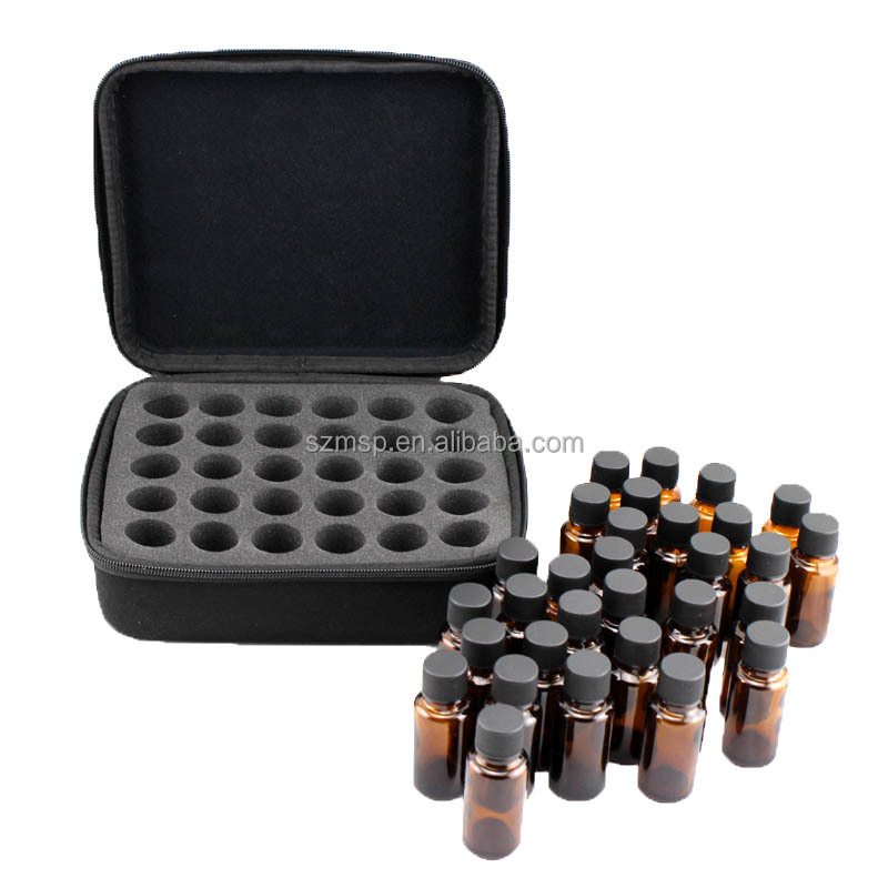 PU oil case with waterproof Eva for 30 vials of essential oil bottles bag 5ml/10ml/15ml