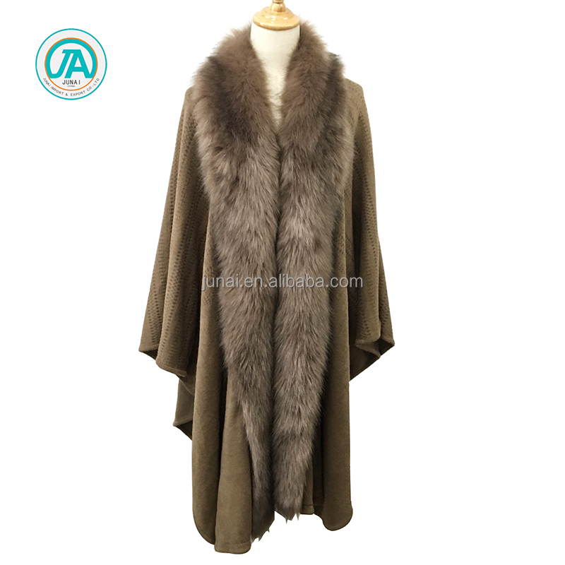 Fur knitted ladies warm winter poncho design shawl and cape