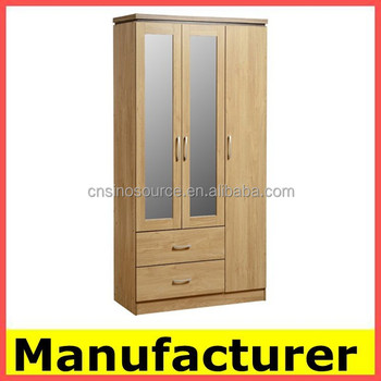 Wooden Clothes Almirah Designs With Mirror Manufacturer Price