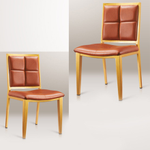 Modern orange leather hotel dinner banquet hall dinng table chairs