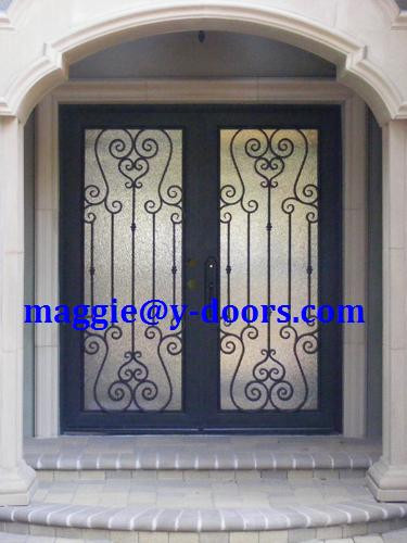 hand forged square Double entry door wrought iron door steel front door