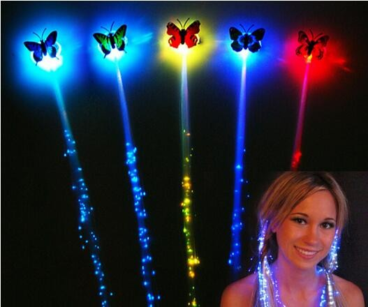 Butterfly Multicolors LED Flashing Fiber Optic Light-Up Hair Piece Hair Rave Party