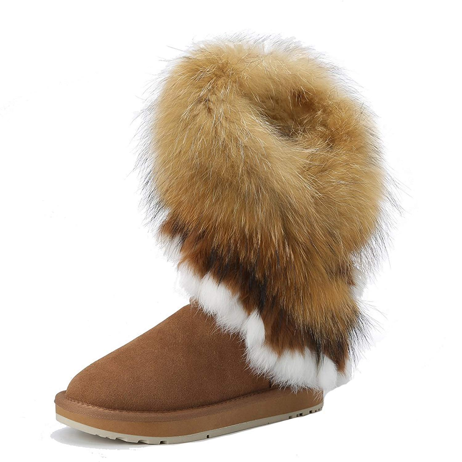 9af162d7 Get Quotations · INOE CREATE GLAMOUR Real Fox Fur Rabbit Fur Faux Sheep Fur  Lined Winter Knee High Snow