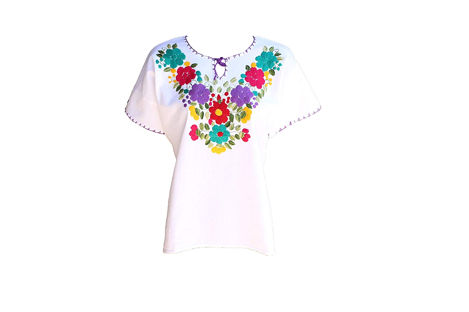 3803d6fe6da Get Quotations · TABIK White Floral Authentic Mexican Peasant Blouse  Embroidered Blouse - Perfect for Beach
