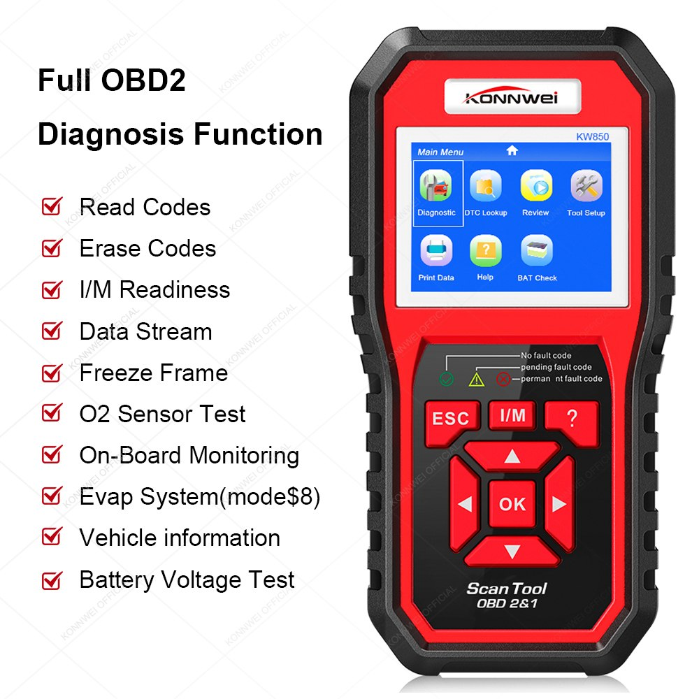OBD2-Buy7days Auto Diagnostic Tool KONNWEI KW850 풀 OBD 2 Mode Multi-언어 Online Update Free 차 진단 Code 리더
