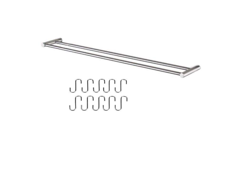 TOGU 23.4 inch SUS 304 Stainless Steel Double Towel Bar with 10S Hooks Heavy Duty Towel Shelves Wall Mounted for Hanging Towels Coats Kitchen Utensil, Brushed Stainless Steel Finish