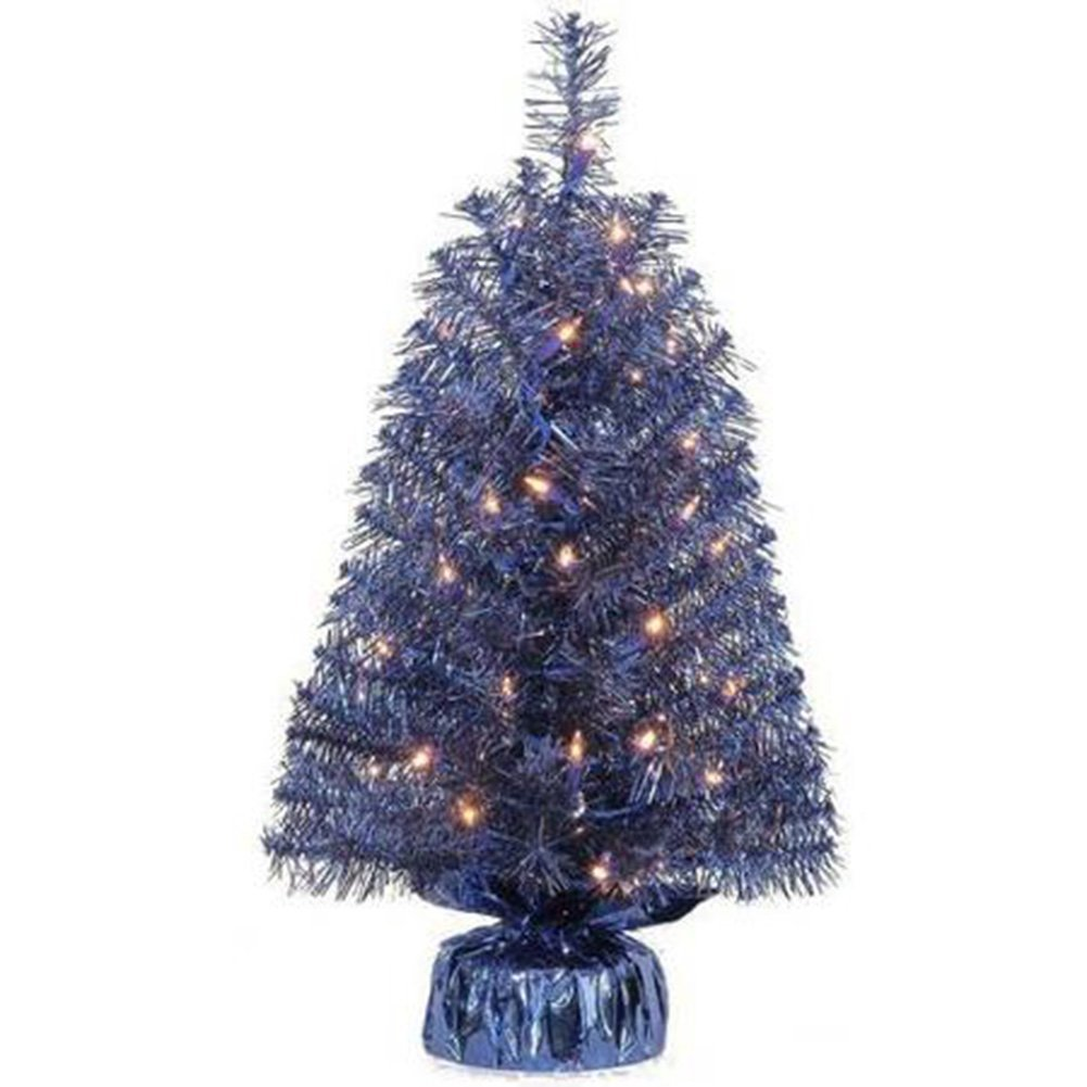 Holiday Time Xmas Pre-Lit 2' Noble Fir Artificial Trees, Clear Lights, Gift Wrap Base Christmas Tree Stands, BLUE (1)