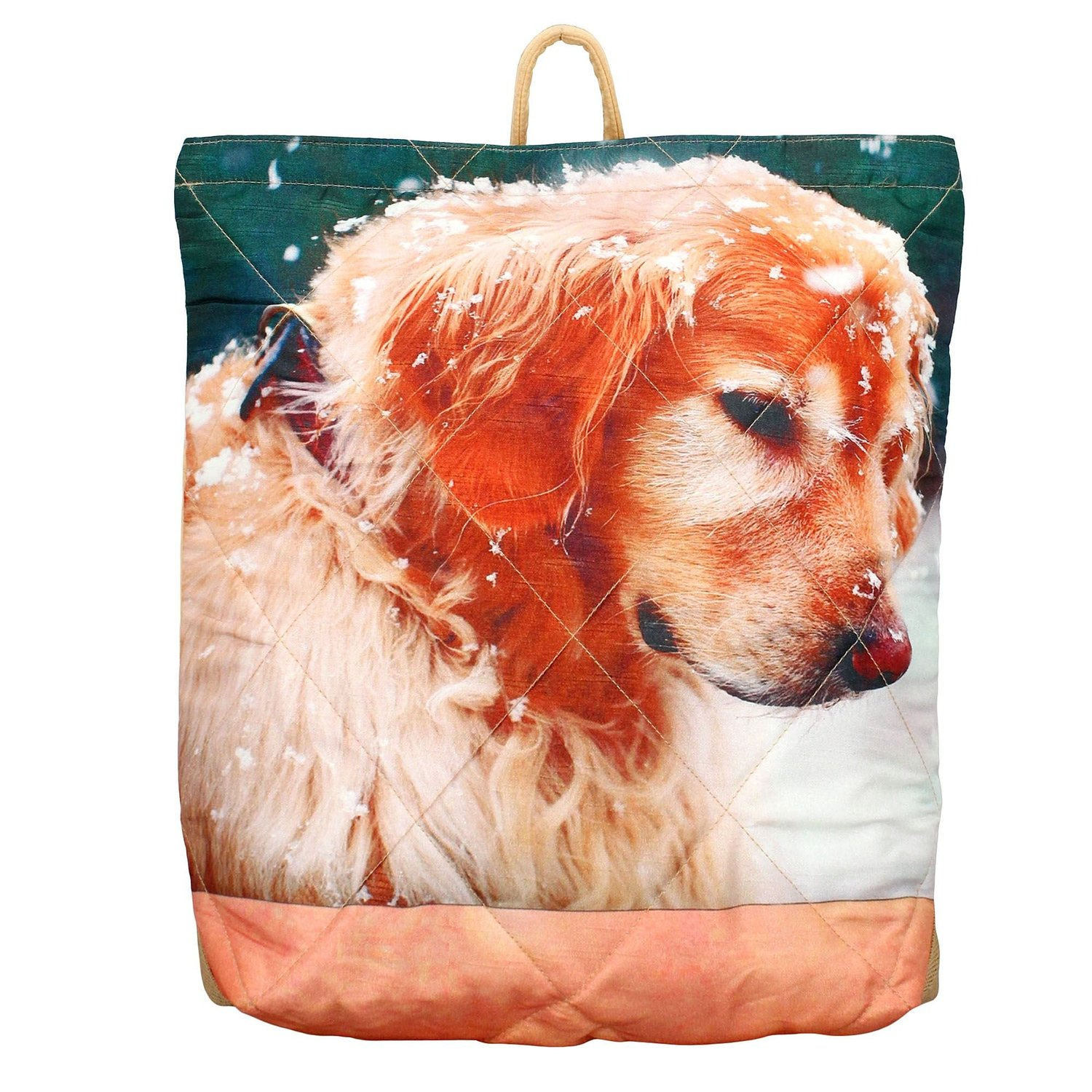 Digital Graphic Dog Tote Bag - Adorable Print - Polyester Faux Silk - 12x12x4 In
