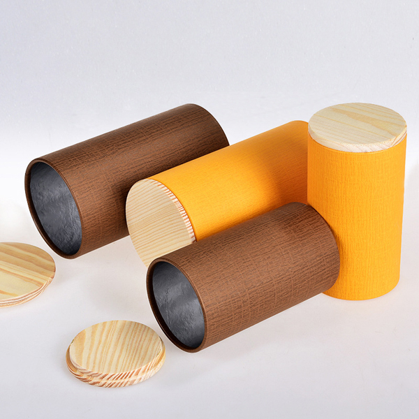 Round tea packaging cans, paper cans and wooden cap L