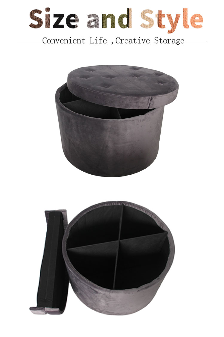 Large Round Storage Ottoman With Removeable Lid
