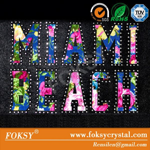 miami beach bling letter rhinestone transfer