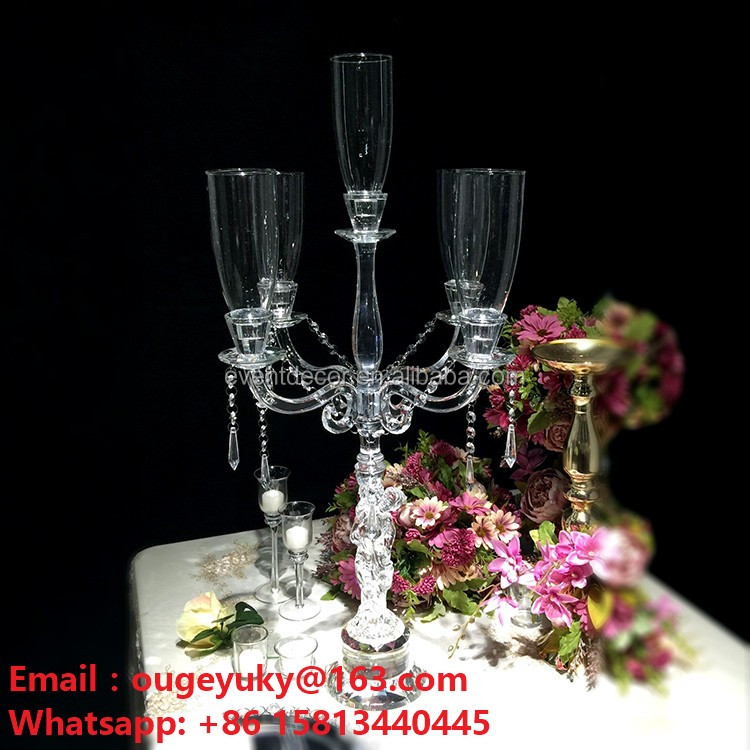Clear k crystal candelabra arms glass wedding