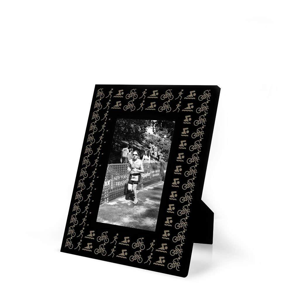 Swim Bike Run Icons Repeat Frame | Engraved Triathlon Picture Frame by ChalkTalk Sports | Vertical 4X6